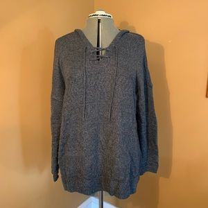 Gray Hooded Lace Front Sweater